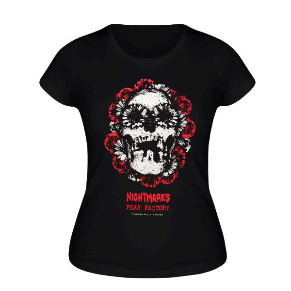 Ladies Flower Skull Tee