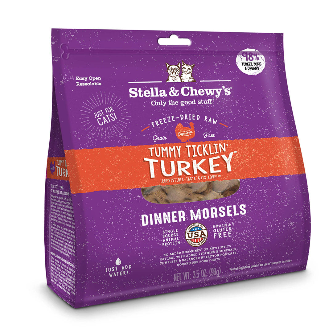 18oz STELLA & CHEWY'S Freeze Dried Dinner Morsels for Cats - Tummy Ticklin' Turkey