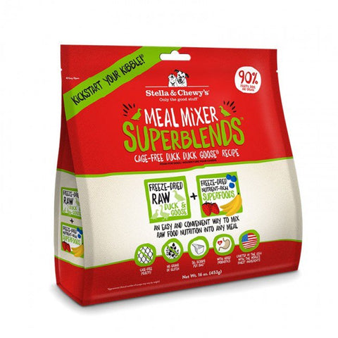 16oz STELLA & CHEWY'S 超級乾糧伴侶 放養鴨鴨鵝配方  Meal Mixer Superblends Cage Free Duck Duck Goose Recipe