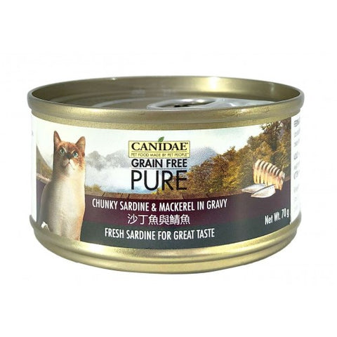 Canidae PURE Cat Can Chunky Sardine & Mackerel in Gravy 70g x24