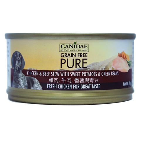 Canidae PURE Dog Can Chicken & Beef Stew with Sweet Potatoes & Green Beans 156g x24