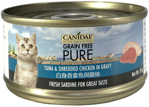 Canidae PURE Cat Can Tuna Shredded Chicken in Gravy 70g x24