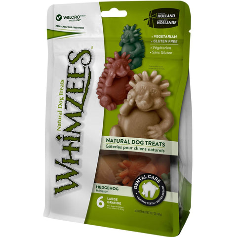 Whimzeezs Natural Grain Free Dental Dog Treats - Hedgehog, Bag of 6 (Large)