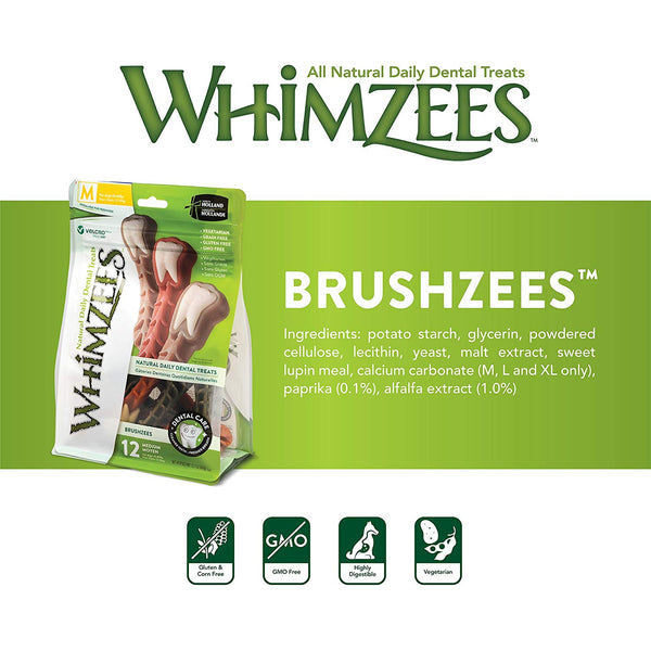 Whimzeezs Natural Grain Free Dental Dog Treats Bag of 6 (Large)