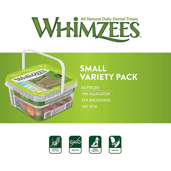 Whimzeezs Natural Grain Free Dental Dog Treats - Variety Pack, Box of 56 (Small)
