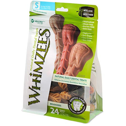 Whimzeezs Natural Grain Free Dental Dog Treats Bag of 24 (Small)
