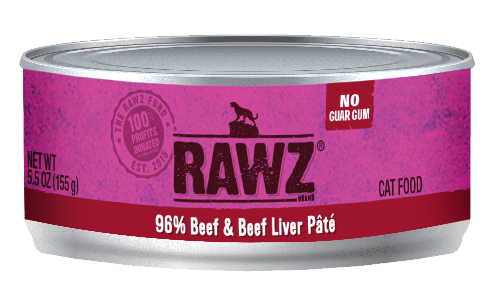 Rawz Cat Canned Food - 96% Beef & Beef Liver Pate 155g x24 -->$26/can!<--