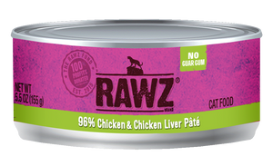 Rawz Cat Canned Food - 96% Chicken & Chicken Liver Pate 155g x24 -->$26/can!<--