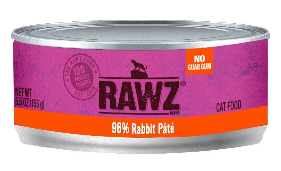 Rawz Cat Canned Food - 96% Rabbit Pate 155g x24 -->$26/can!<--