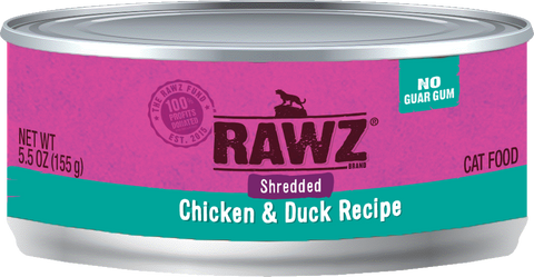 Rawz Cat Canned Food - Shredded Chicken & Duck 155g x24 -->$26/can!<--
