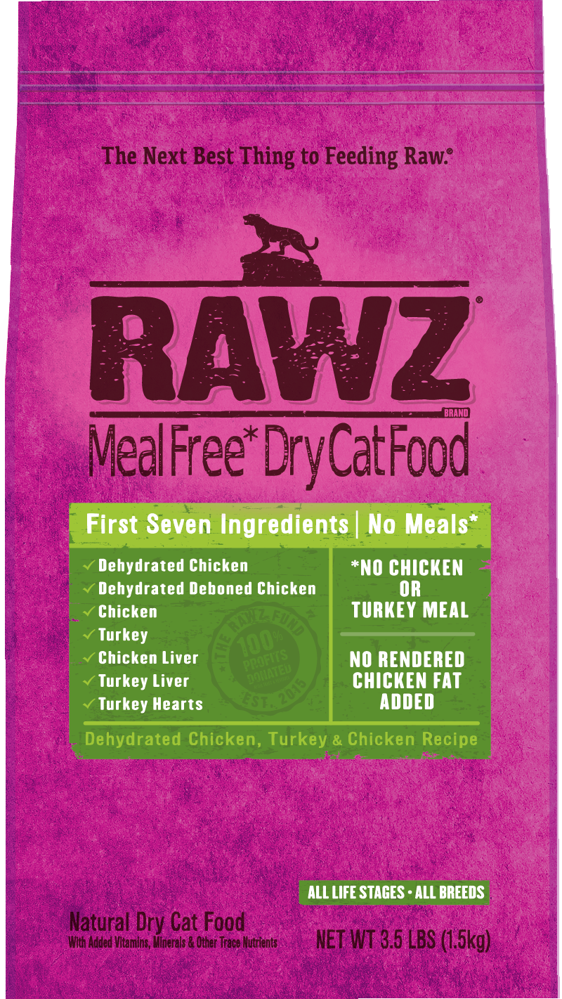 Rawz Meal Free Cat Food - Dehydrated Chicken, Turkey & Chicken 7.8lb