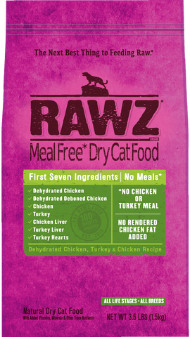 Rawz Meal Free Cat Food - Dehydrated Chicken, Turkey & Chicken 3.5lb