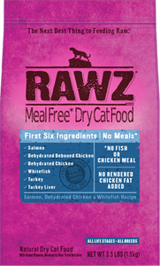 Rawz Meal Free Cat Food - Salmon, Dehydrated Chicken & Whitefish 3.5lb