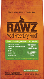 Rawz Meal Free Dog Food - Dehydrated Chicken, Turkey & Chicken 20lb