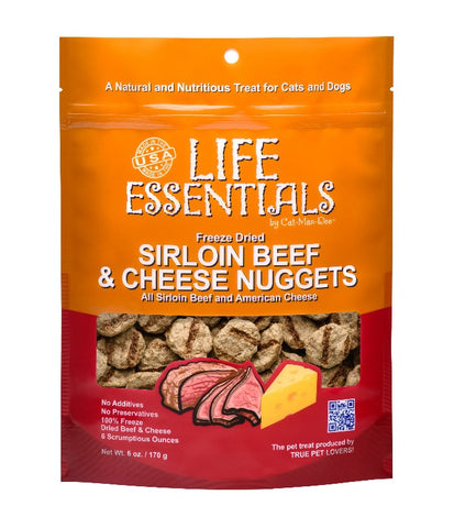 Cat-Man-Doo Life Essentials Freeze Dried Sirloin Beef and Cheese Nuggets 3oz