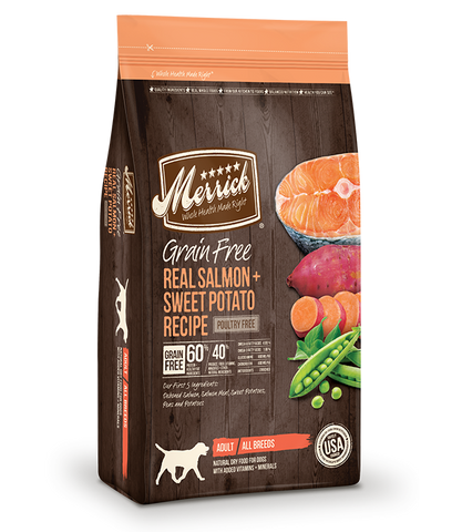 Merrick Grain Free Dog Real Salmon & Sweet Potato Recipe 12lb