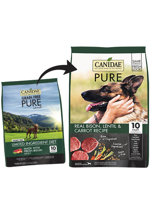 Canidae Grain Free PURE Land Adult Dog Formula Made with Fresh Bison 4lb