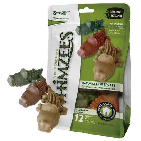 Whimzeezs Natural Grain Free Dental Dog Treats - Alligator, Bag of 12 (Medium)