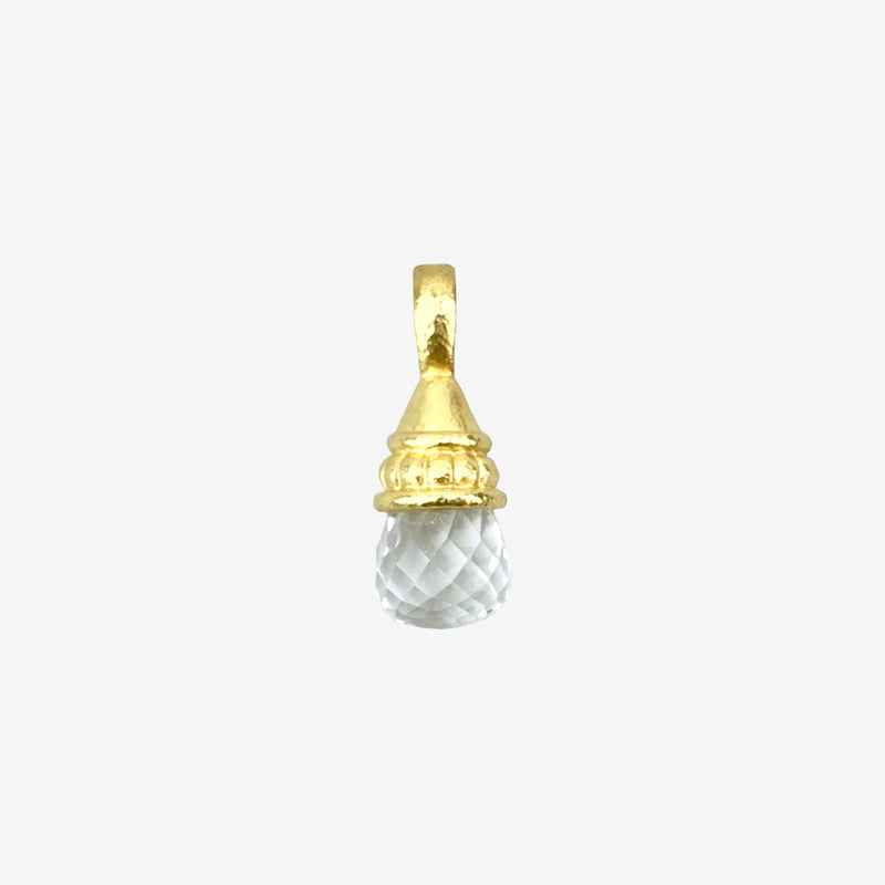 19K Yellow Gold and White Topaz Pendant