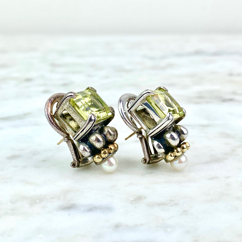 18K Yellow Gold and Sterling Silver Quartz Ear Clips
