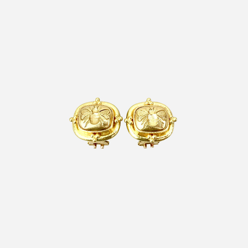 18K Yellow Gold Bee Ear Clips