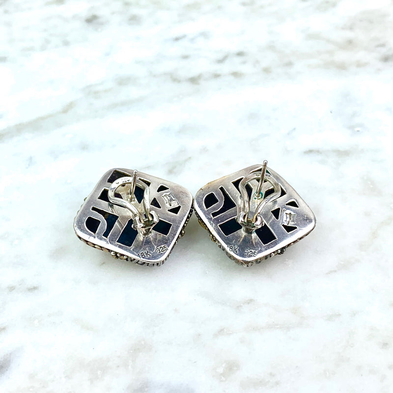 18K Yellow Gold and Sterling Silver Ear Clips