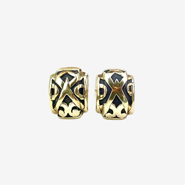 18K Yellow Gold and Sterling Silver Geometric Ear Clips
