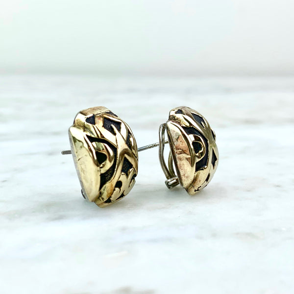 John Hardy 18K and Sterling Silver Geometric Ear Clips
