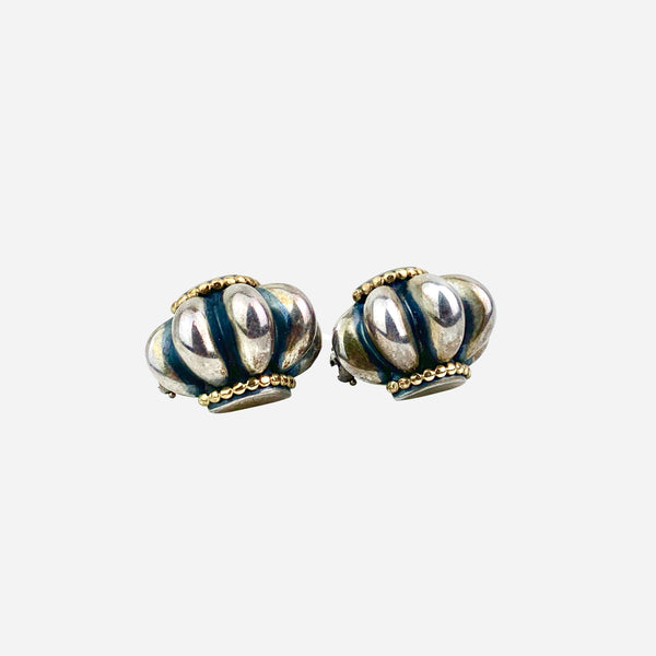 Lagos Sterling Silver and 18K Clip-On Earrings