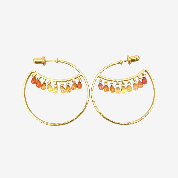 24K Yellow Gold and Citrine Wink Hoop Earrings