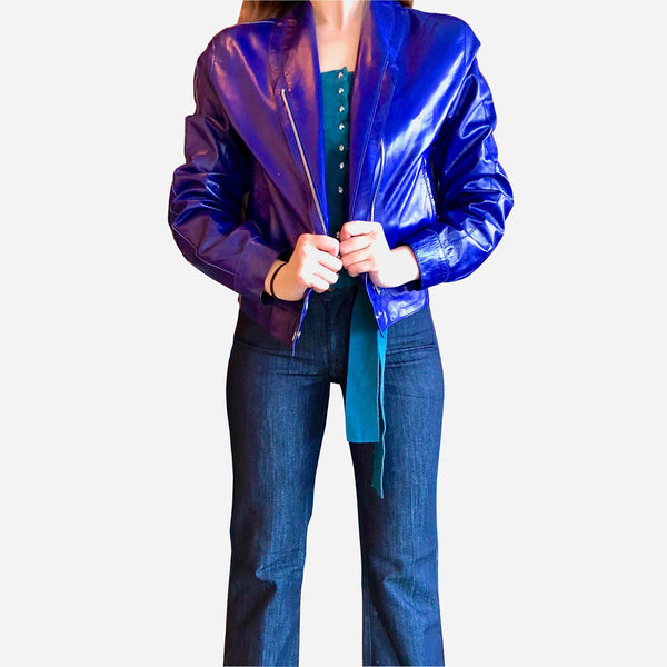 Vintage Bottega Veneta Blue Leather Asymmetric Jacket