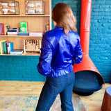 Blue Leather Asymmetric Jacket