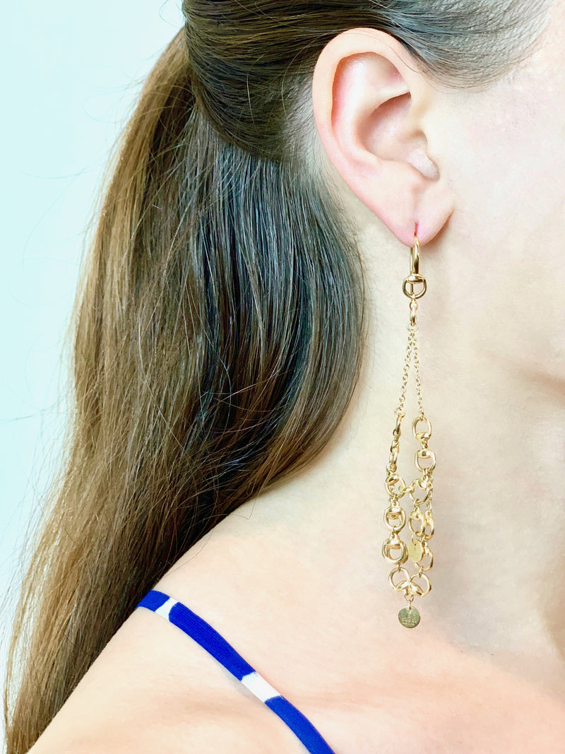 18K Yellow Gold Horse Bit Chandelier Earrings