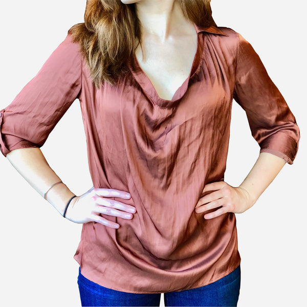 Copper Pull-Over Silk Blouse