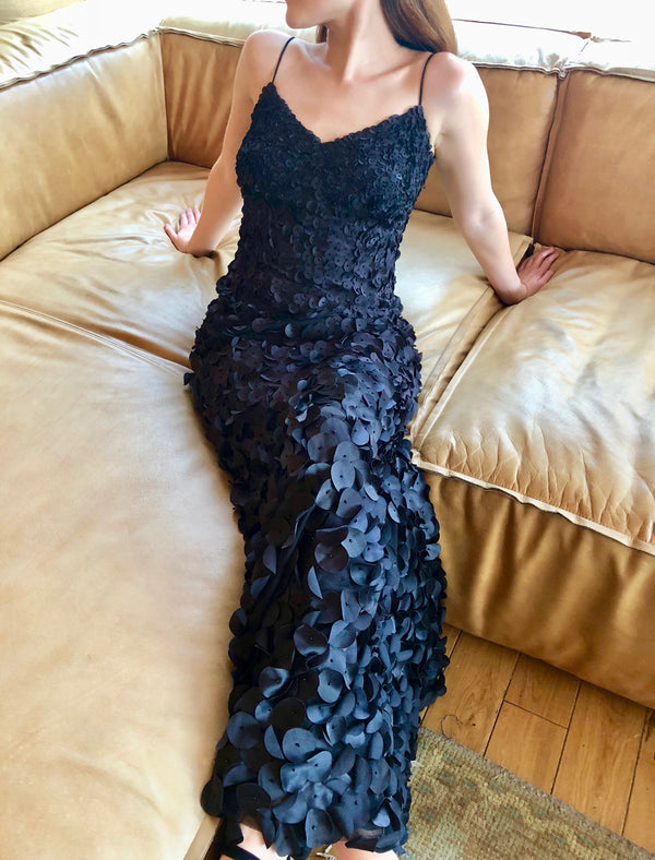 Black Sleeveless V-neck 'Petal' Evening Gown