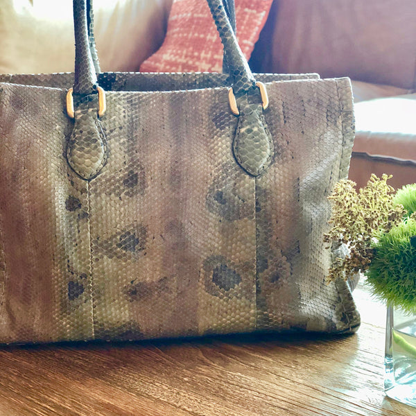 Python Skin Leather Shoulder Bag