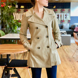 Tan Mid-Length Double-Breasted Trench Coat