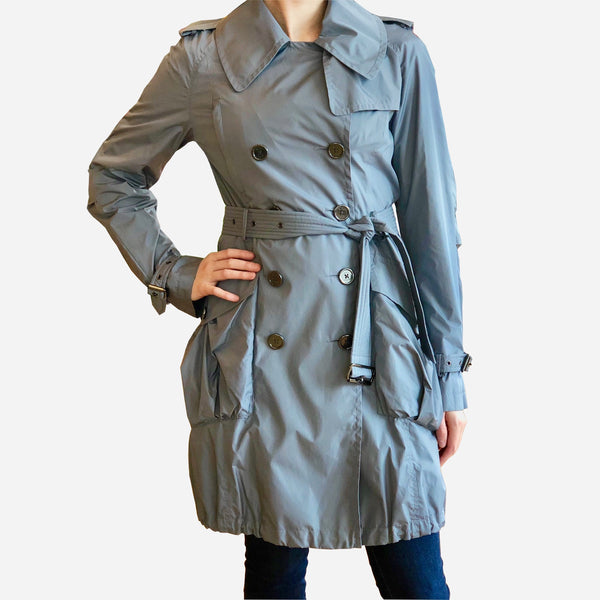 Gray Double-Breasted Mid-Length Trench Coat