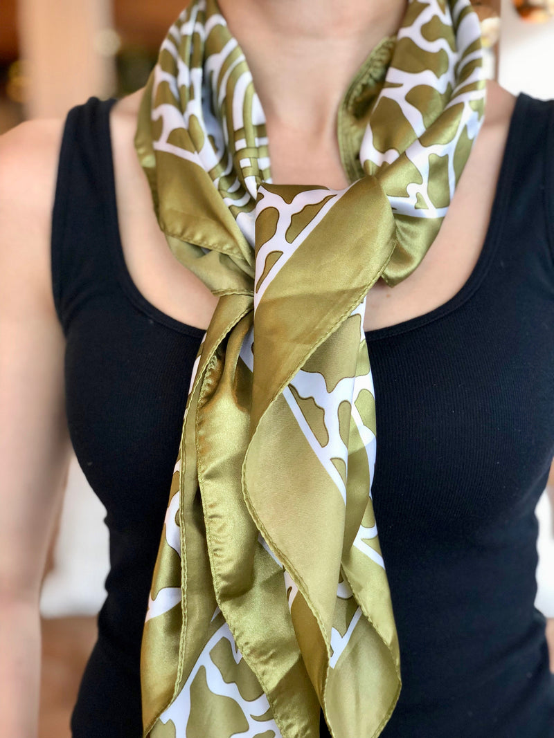 Green and Cream Celtic Design Silk Scarf
