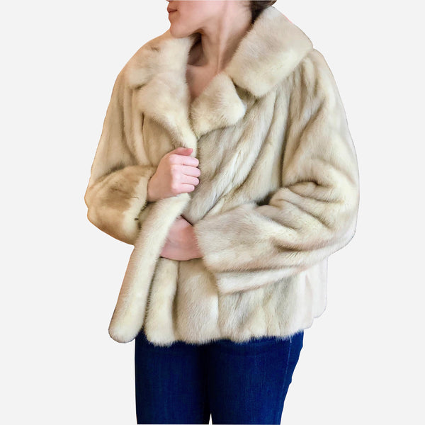 Vintage Natural Pale Beige Mink Swing Short Jacket