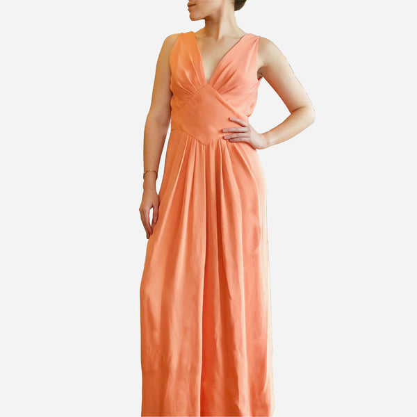Vintage 1970s Estevez Sleeveless Peach V-Neck Gown