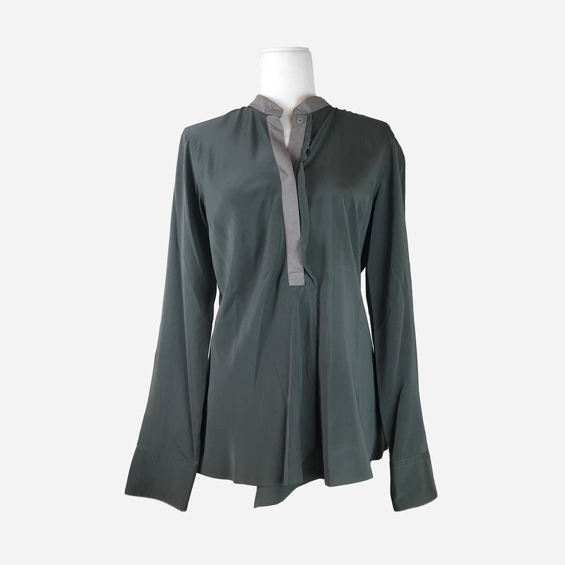 Brunello Cucinelli Green Silk and Cotton Blouse
