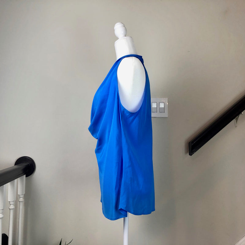 Blue Sleeveless Silk Top