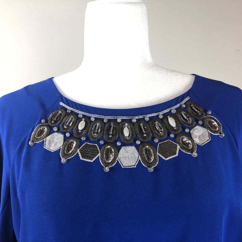 Blue Silk Short-Sleeve Embroidered Top