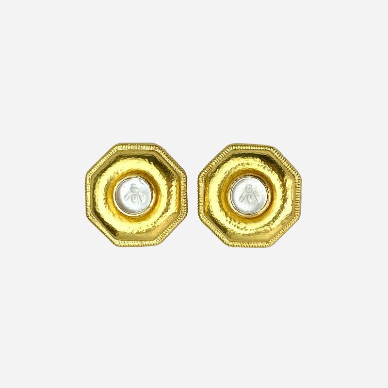 19K Yellow Gold and Intaglio Bee Ear Clip Earrings