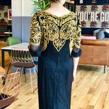 Black and Gold Beaded Embellished Long Sleeve Ankle-Length Dress