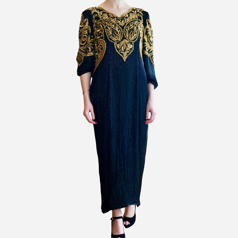 Vintage 1970s Richilene New York for Saks Fifth Avenue Black and Gold Beaded Evening Gown