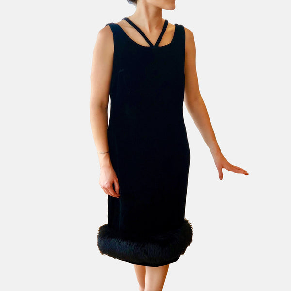 Vintage 1960s Alfred Werber Sleeveless Black Velvet Cocktail Dress
