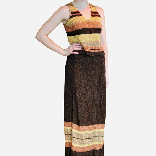 Vintage 1970s Polly Clothier Three-Piece Brown Metallic and Striped Knit Ensemble