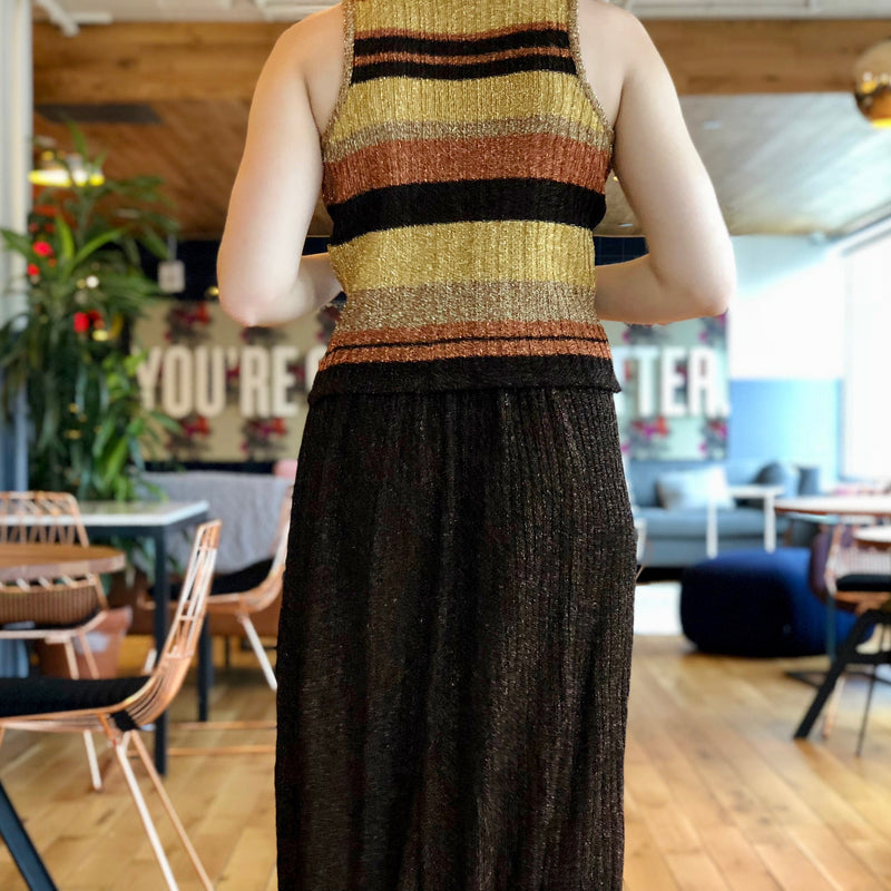 Metallic Brown and Striped Three-Piece Knit Ensemble
